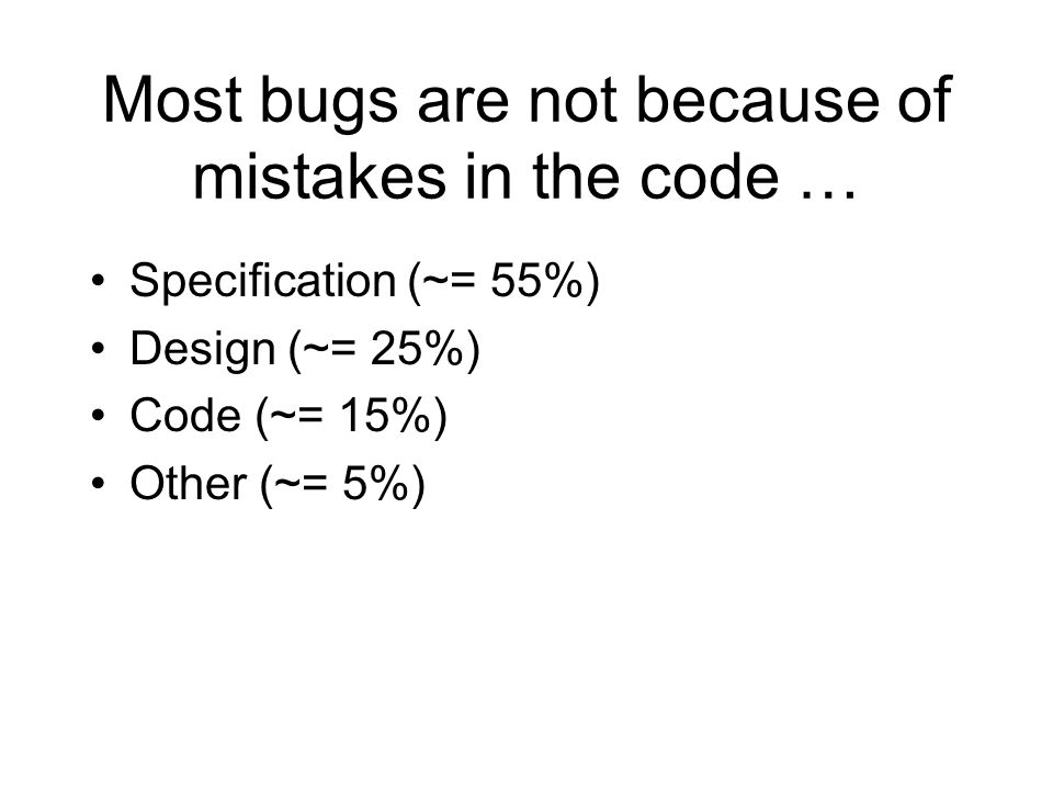 Most bugs are not because of mistakes in the code … Specification (~= 55%) Design (~= 25%) Code (~= 15%) Other (~= 5%)