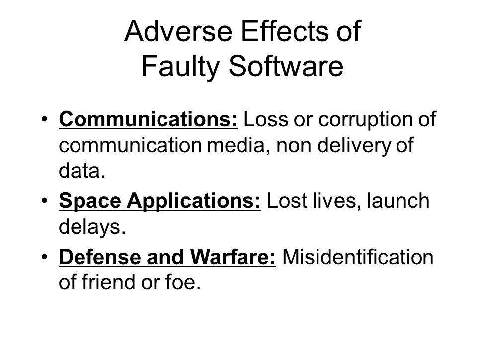 Adverse Effects of Faulty Software Communications: Loss or corruption of communication media, non delivery of data. Space Applications: Lost lives, la