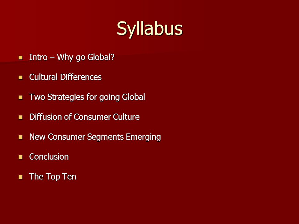 Syllabus Intro – Why go Global. Intro – Why go Global.