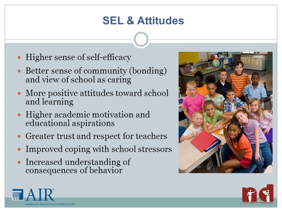 SEL & Attitudes Higher sense of self-efficacy Better sense of community (bonding) and view of school as caring More positive attitudes toward school and learning Higher academic motivation and educational aspirations Greater trust and respect for teachers Improved coping with school stressors Increased understanding of consequences of behavior