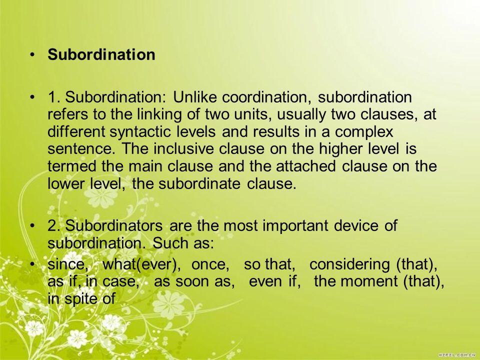 Subordination 1.
