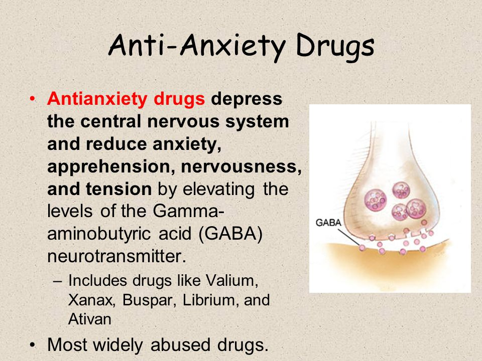 Anti-Anxiety Drugs Antianxiety drugs depress the central nervous system and reduce anxiety, apprehension, nervousness, and tension by elevating the le
