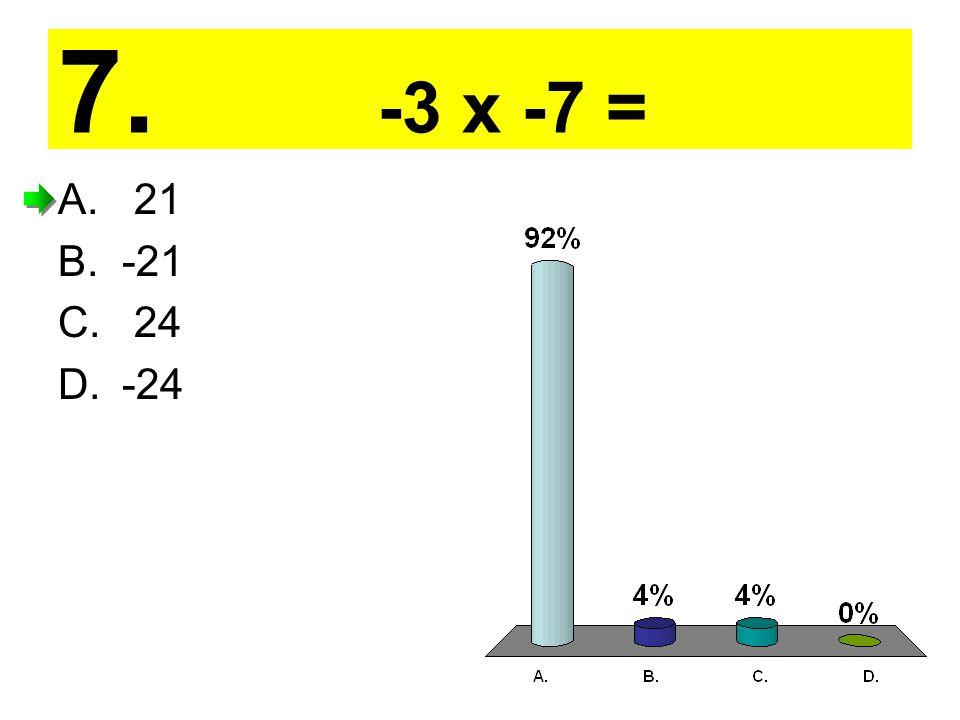 7. -3 x -7 = A. 21 B.-21 C. 24 D.-24