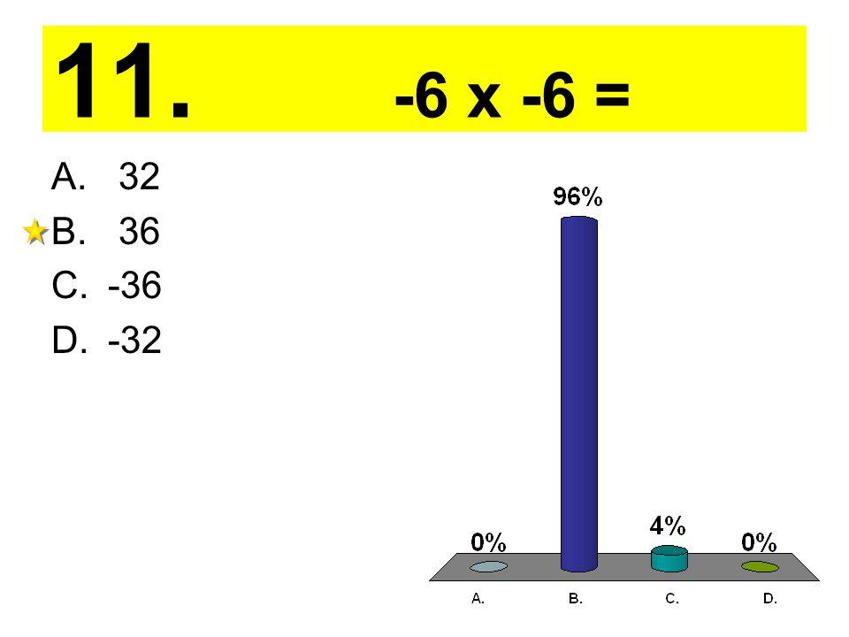 11. -6 x -6 = A. 32 B. 36 C.-36 D.-32