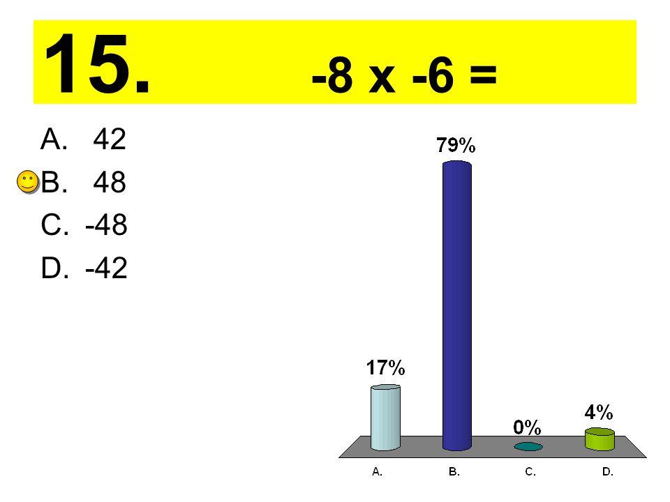 15. -8 x -6 = A. 42 B. 48 C.-48 D.-42