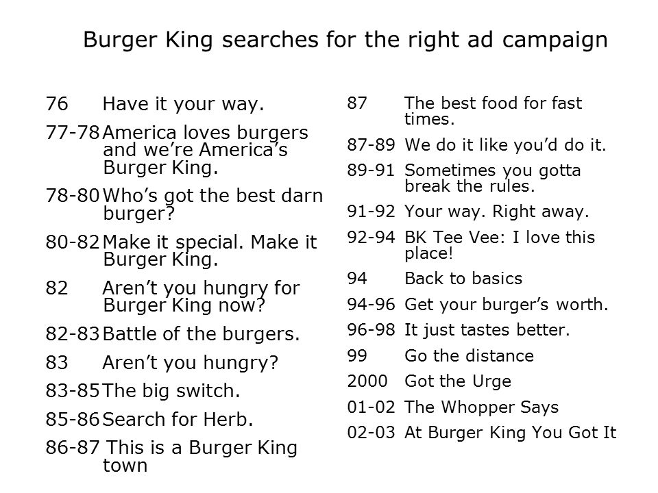 Burger King searches for the right ad campaign 76Have it your way. 77-78America loves burgers and we're America's Burger King. 78-80Who's got the best