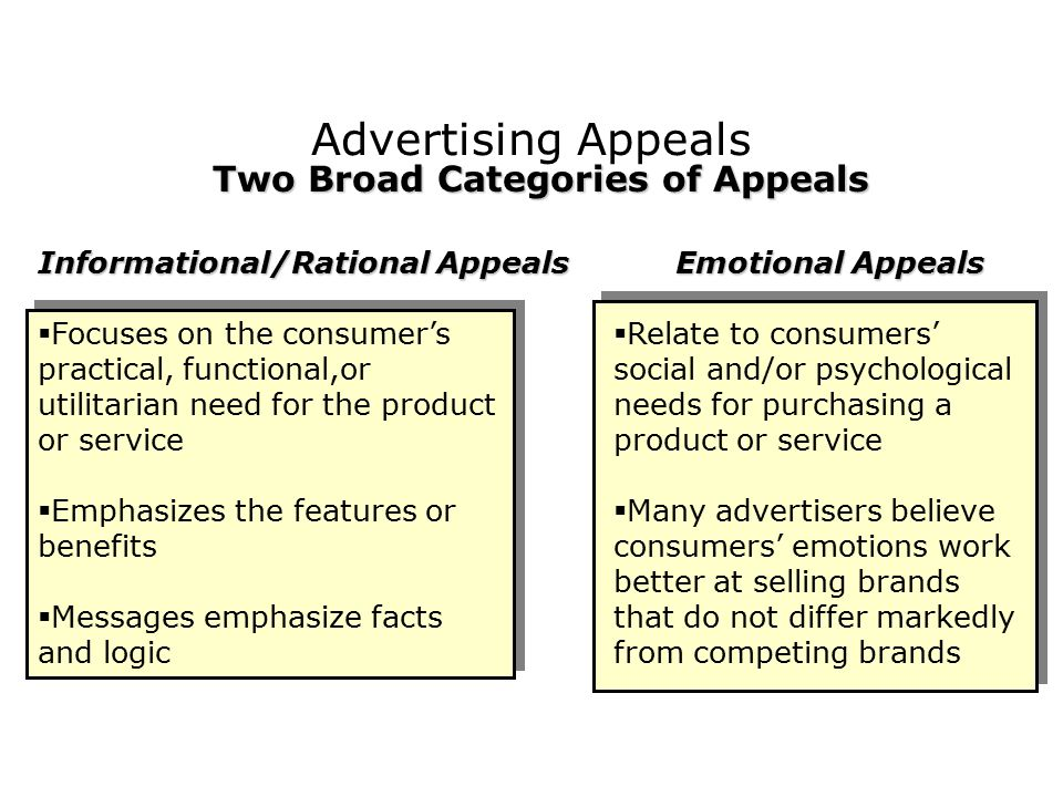 Advertising Appeals Informational/Rational AppealsEmotional Appeals Two Broad Categories of Appeals  Focuses on the consumer's practical, functional,