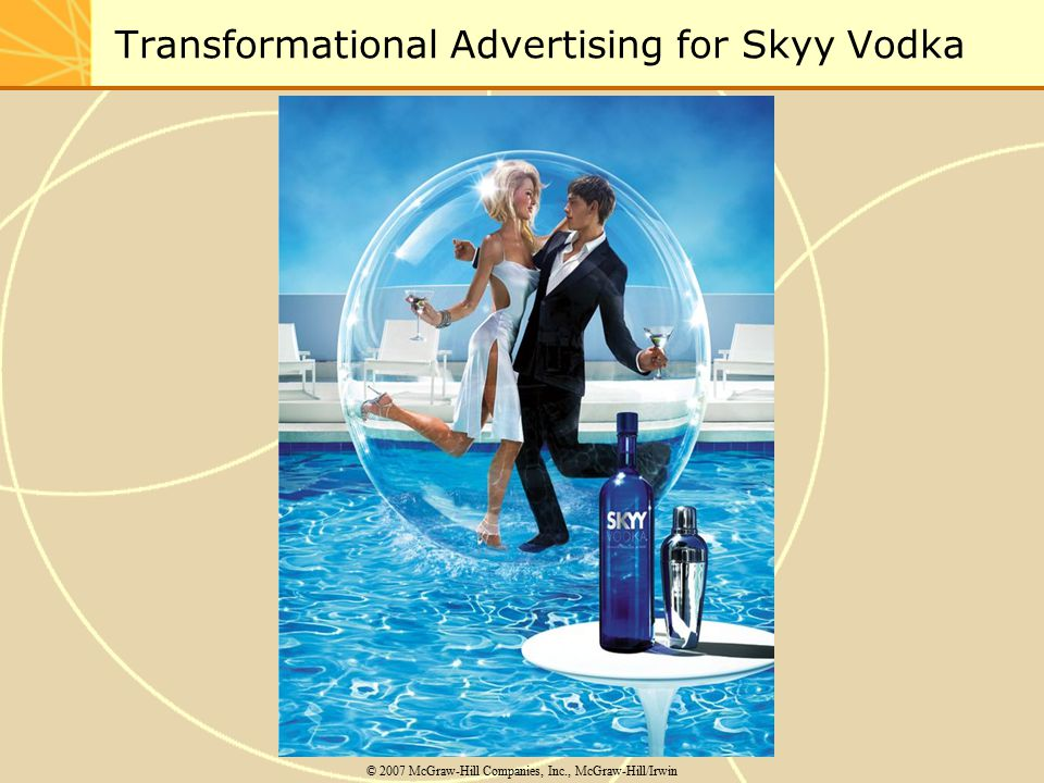 Transformational Advertising for Skyy Vodka © 2007 McGraw-Hill Companies, Inc., McGraw-Hill/Irwin