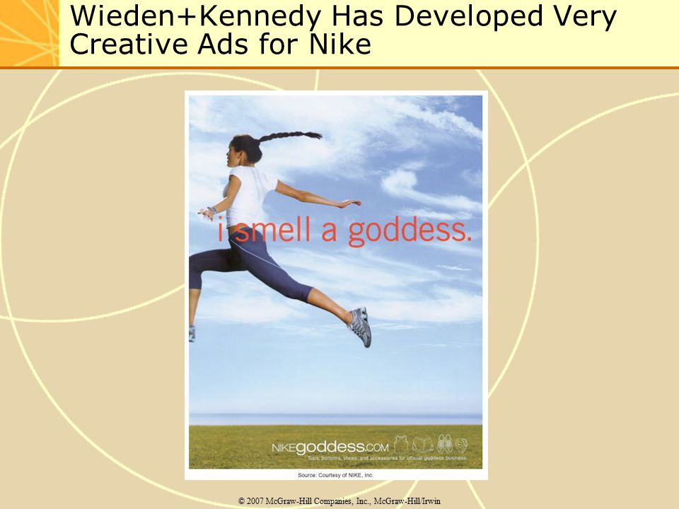 Wieden+Kennedy Has Developed Very Creative Ads for Nike © 2007 McGraw-Hill Companies, Inc., McGraw-Hill/Irwin