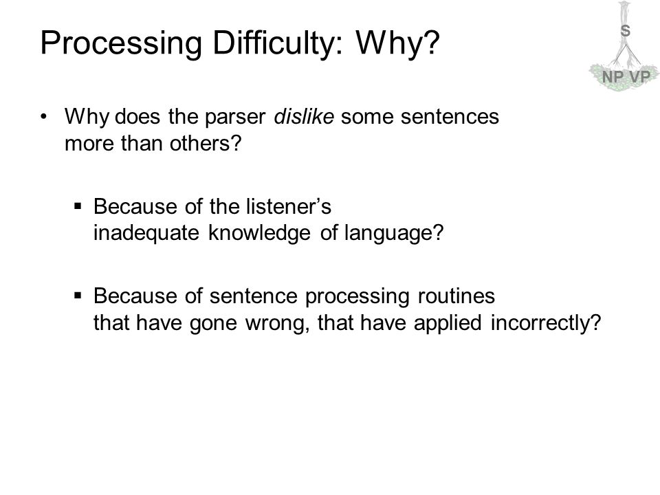 S NPVP Processing Difficulty: Why. Why does the parser dislike some sentences more than others.