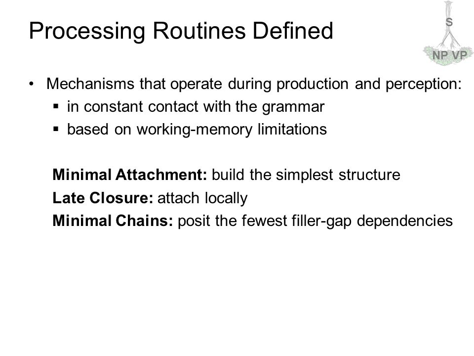 S NPVP Processing Routines Defined Mechanisms that operate during production and perception:  in constant contact with the grammar  based on working-memory limitations Minimal Attachment: build the simplest structure Late Closure: attach locally Minimal Chains: posit the fewest filler-gap dependencies