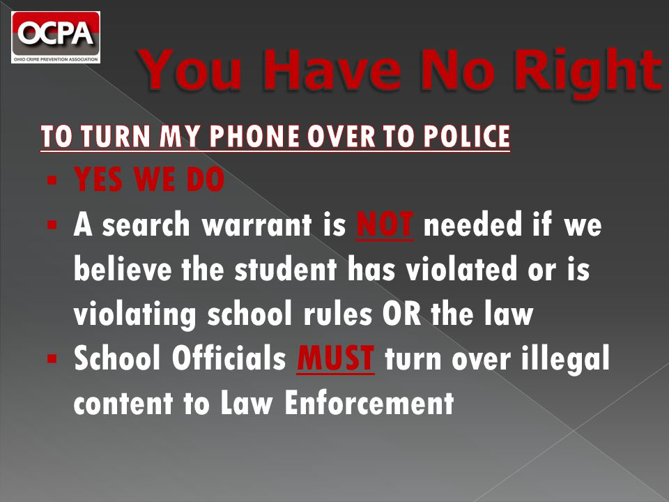  Suspensions and/or Expulsions for possessing and/or sending inappropriate text messages/photos  Doesn't matter whether the photos originated in/during school or not  Notification to Law Enforcement