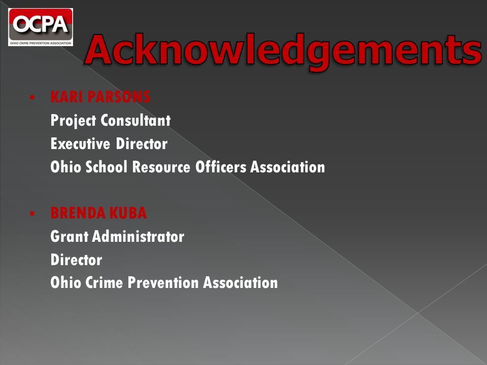  KARI PARSONS Project Consultant Executive Director Ohio School Resource Officers Association  BRENDA KUBA Grant Administrator Director Ohio Crime Prevention Association