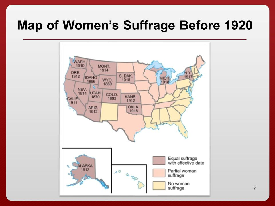 7 Map of Women's Suffrage Before 1920