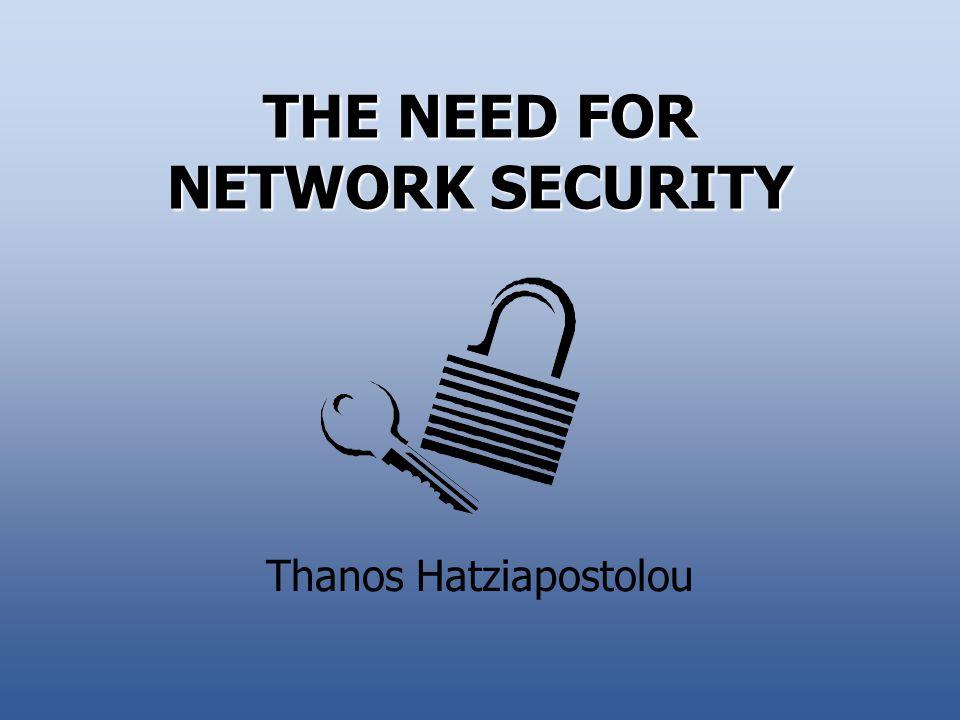 THE NEED FOR NETWORK SECURITY Thanos Hatziapostolou
