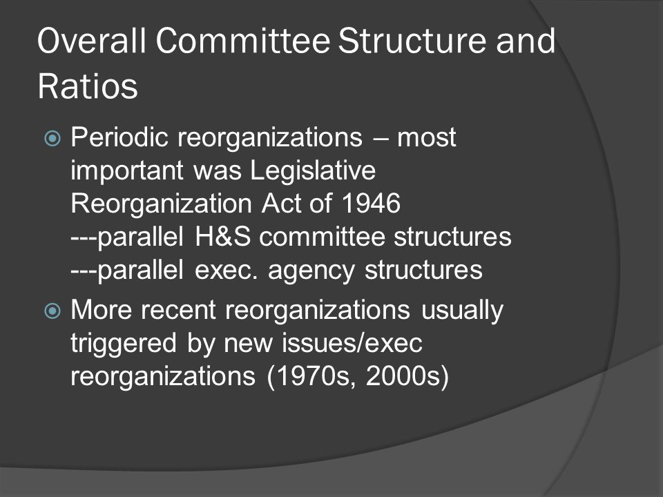 Deciding Committee Sizes and Ratios  Majority party organizes the chamber —has more power in House  The leaders' dilemma  The musical chairs problem when majority shifts  Proportionate and disproportionate majorities  Why be nice to the minority party?