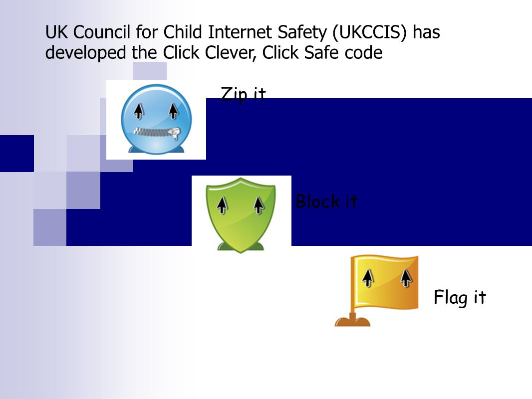 Zip it Block it Flag it UK Council for Child Internet Safety (UKCCIS) has developed the Click Clever, Click Safe code