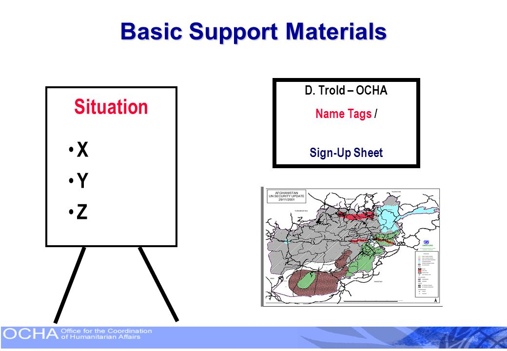 Basic Support Materials Situation X Y Z D. Trold – OCHA Name Tags / Sign-Up Sheet