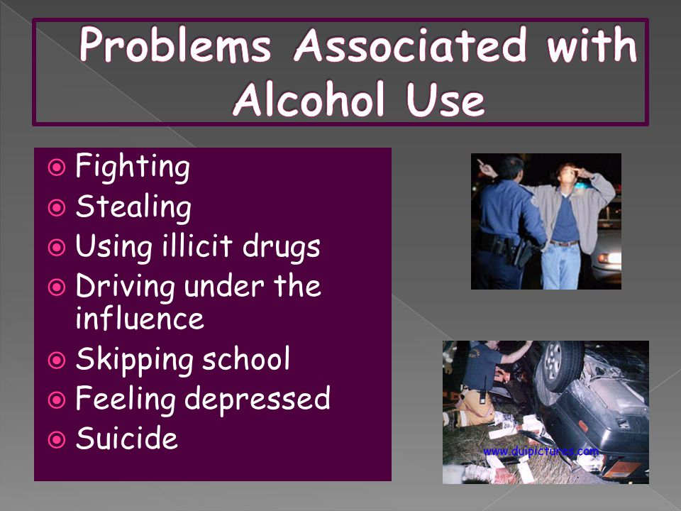  Fighting  Stealing  Using illicit drugs  Driving under the influence  Skipping school  Feeling depressed  Suicide