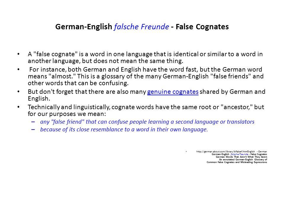 German-English falsche Freunde - False Cognates A