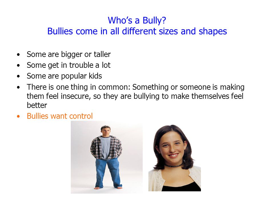 Who's a Bully? Bullies come in all different sizes and shapes Some are bigger or taller Some get in trouble a lot Some are popular kids There is one t
