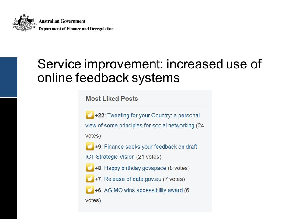 Service improvement: increased use of online feedback systems