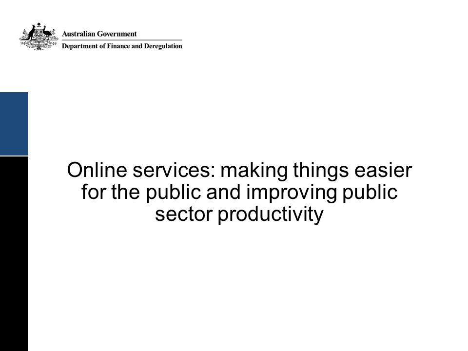 Online services: making things easier for the public and improving public sector productivity