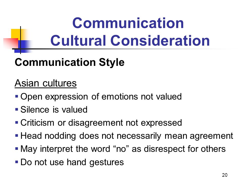 20 Communication Style Asian cultures  Open expression of emotions not valued  Silence is valued  Criticism or disagreement not expressed  Head no