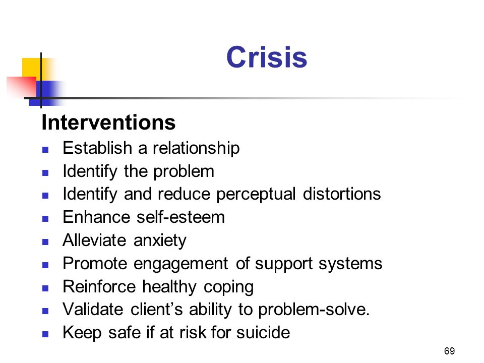 69 Crisis Interventions Establish a relationship Identify the problem Identify and reduce perceptual distortions Enhance self-esteem Alleviate anxiety