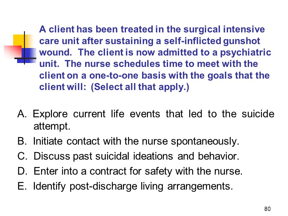 80 A client has been treated in the surgical intensive care unit after sustaining a self-inflicted gunshot wound. The client is now admitted to a psyc