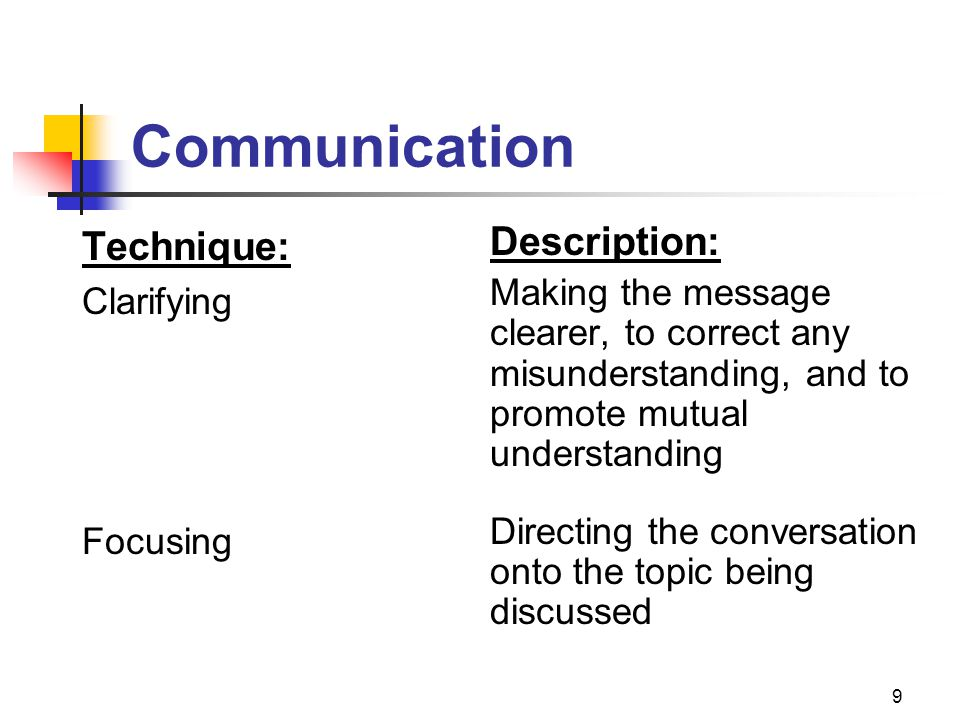 9 Technique: Clarifying Focusing Description: Making the message clearer, to correct any misunderstanding, and to promote mutual understanding Directi
