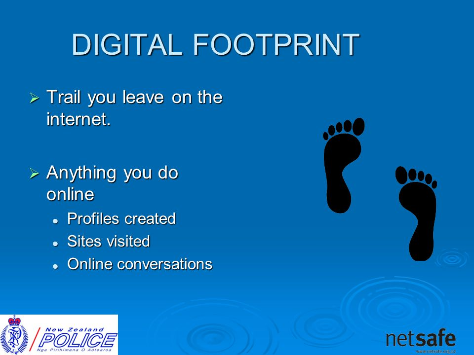 DIGITAL FOOTPRINT  Trail you leave on the internet.