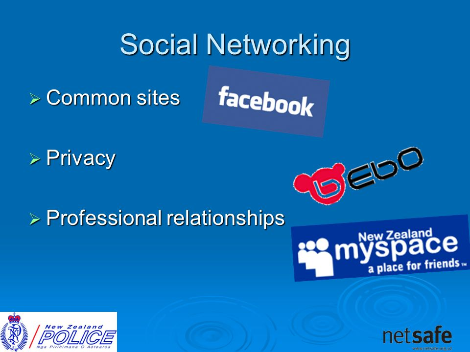 Social Networking  Common sites  Privacy  Professional relationships