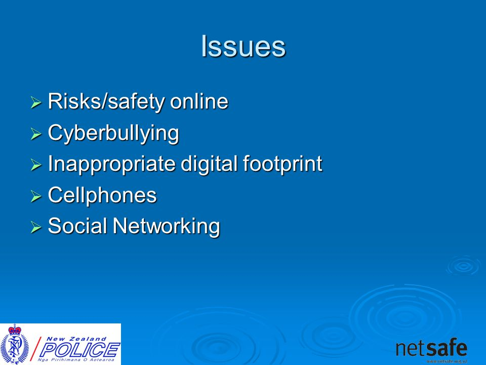 Issues  Risks/safety online  Cyberbullying  Inappropriate digital footprint  Cellphones  Social Networking