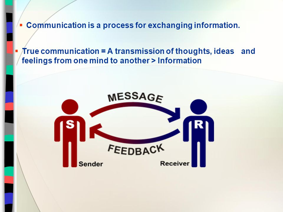  Communication is a process for exchanging information.