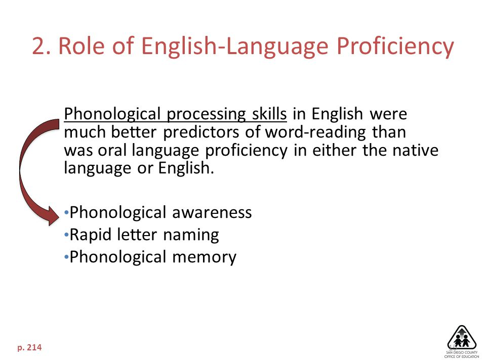 15 Phonological processing skills in English were much better predictors of word-reading than was oral language proficiency in either the native language or English.