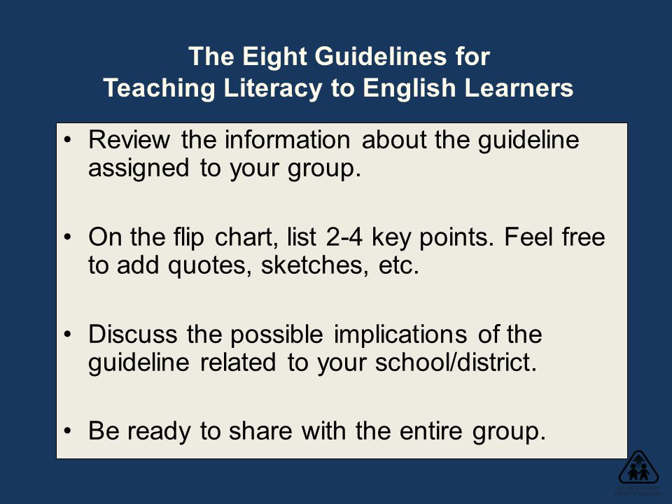 Review the information about the guideline assigned to your group.