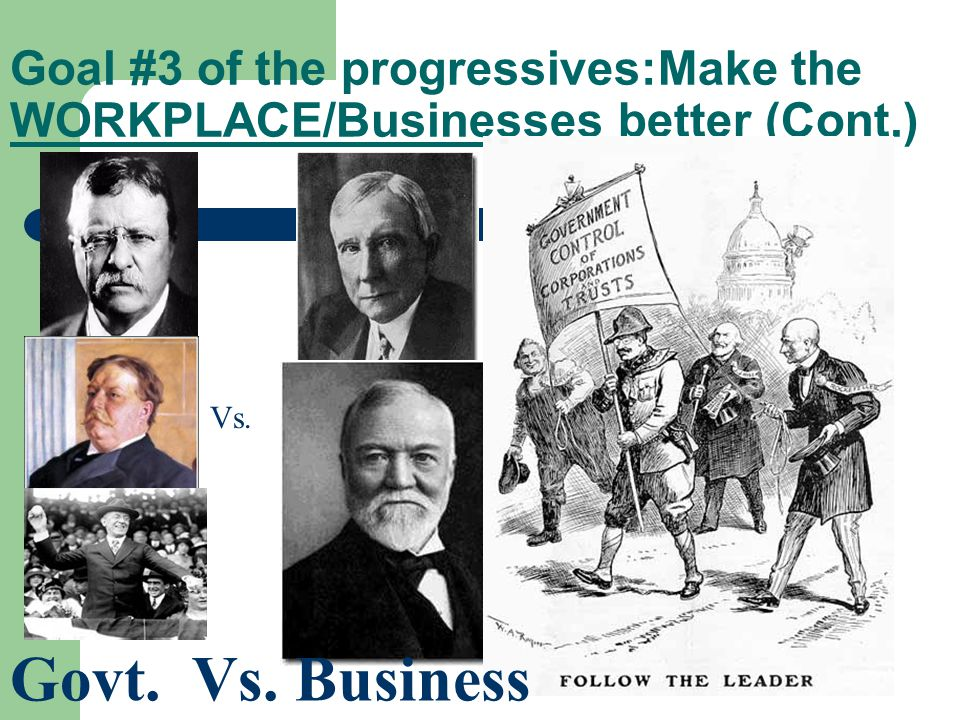 Goal #3 of the progressives:Make the WORKPLACE/Businesses better (Cont.) Vs. Govt. Vs. Business