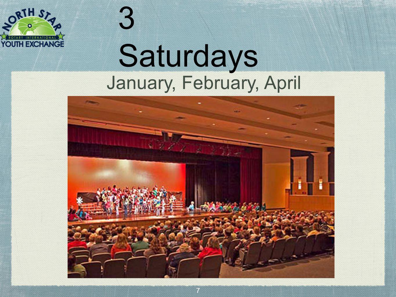 7 3 Saturdays January, February, April