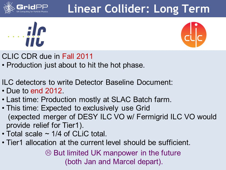 8 CLIC CDR due in Fall 2011 Production just about to hit the hot phase. ILC detectors to write Detector Baseline Document: Due to end 2012. Last time: