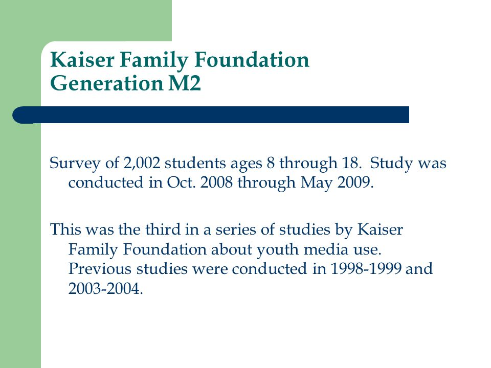 Kaiser Family Foundation Generation M2 Survey of 2,002 students ages 8 through 18.