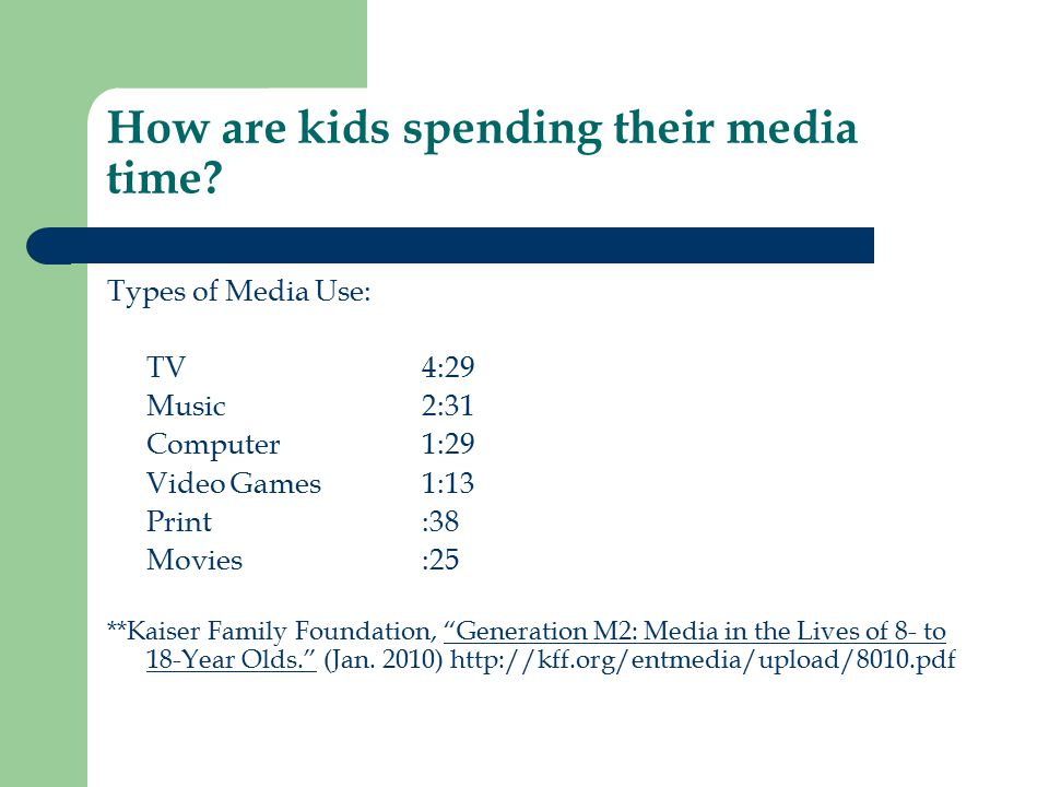 How are kids spending their media time? Types of Media Use: TV4:29 Music 2:31 Computer 1:29 Video Games1:13 Print:38 Movies:25 **Kaiser Family Foundat