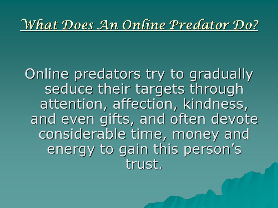 What Does An Online Predator Do.