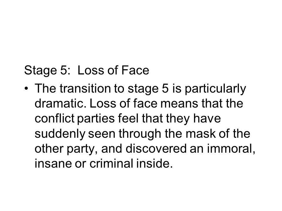Stage 5: Loss of Face The transition to stage 5 is particularly dramatic.