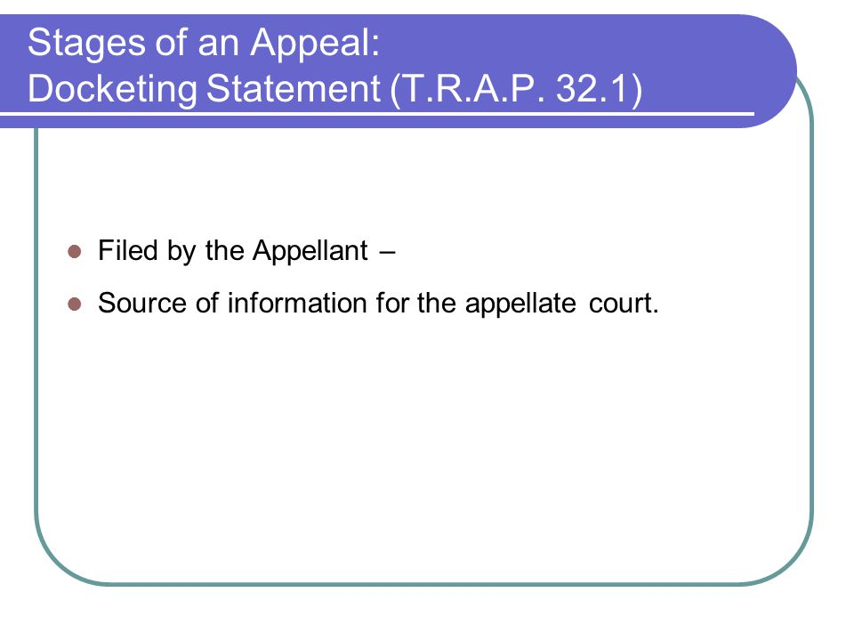 Stages of an Appeal: Docketing Statement (T.R.A.P.