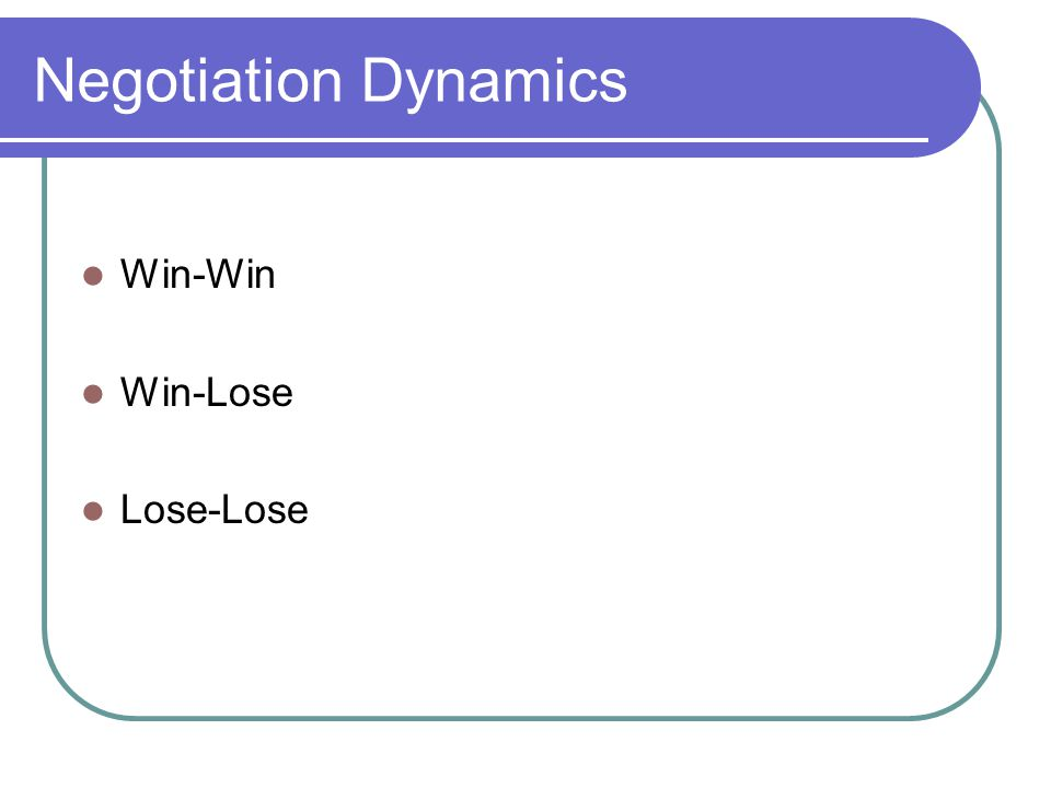 Negotiation Dynamics Win-Win Win-Lose Lose-Lose