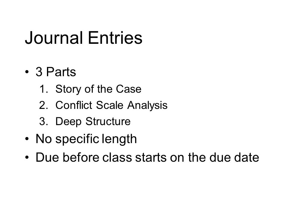 Journal Entries 3 Parts 1.Story of the Case 2.Conflict Scale Analysis 3.Deep Structure No specific length Due before class starts on the due date