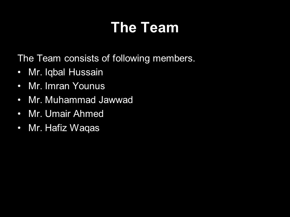The Team The Team consists of following members. Mr.