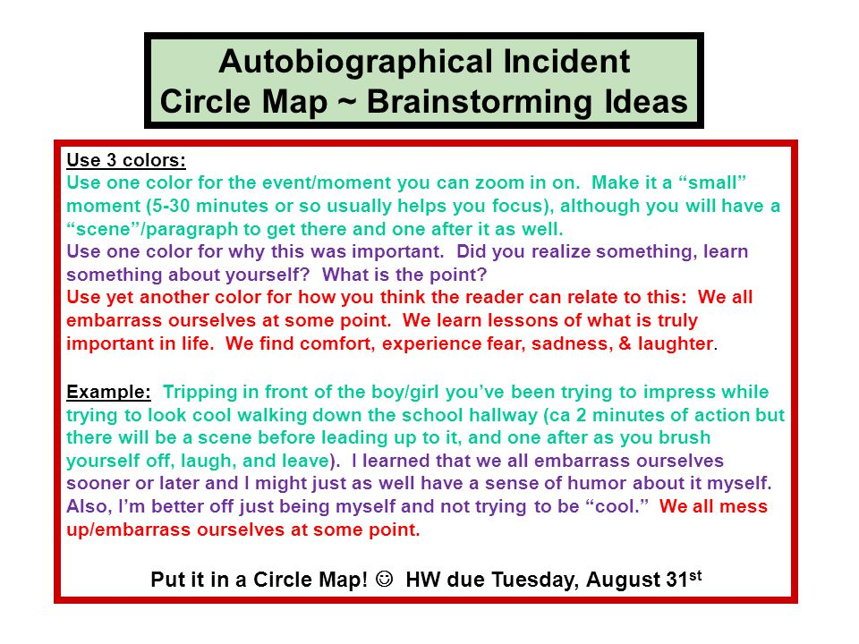 Autobiographical Incident Circle Map ~ Brainstorming Ideas Use 3 colors: Use one color for the event/moment you can zoom in on.