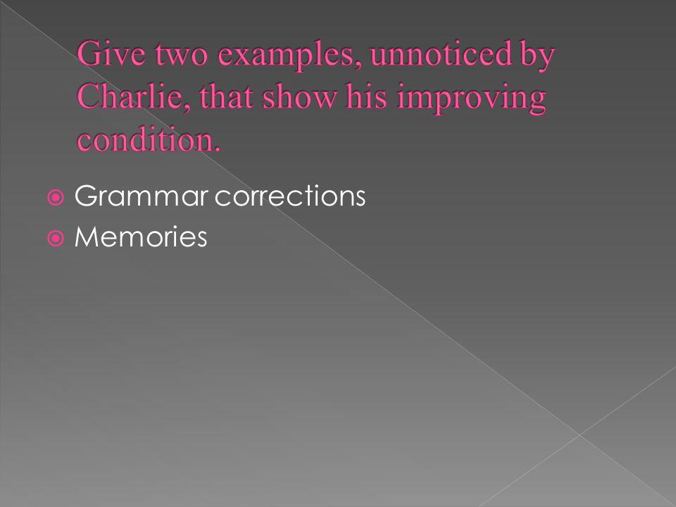  Grammar corrections  Memories